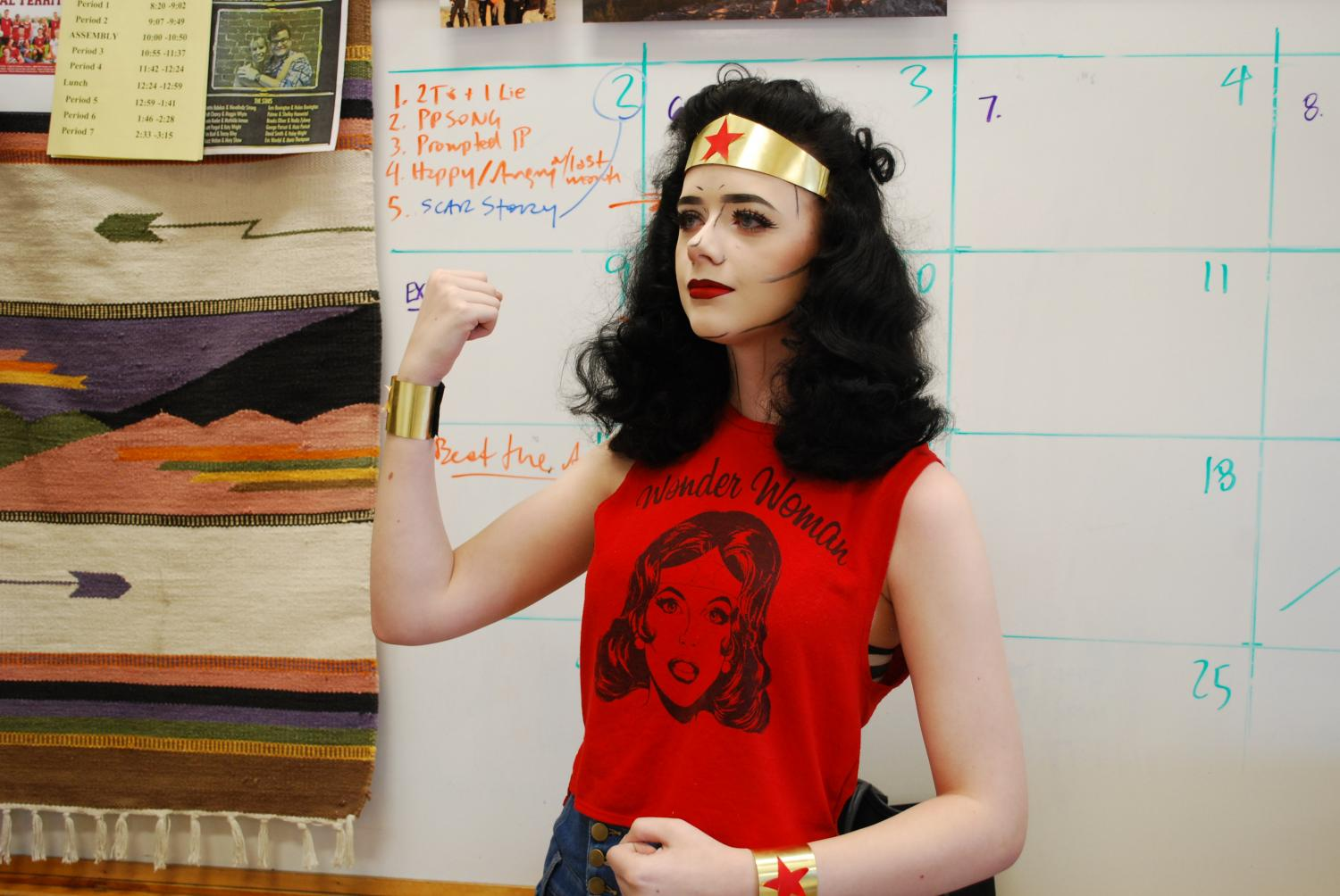Junior, Corrina Asher portrays Wonder Woman with pop art make up