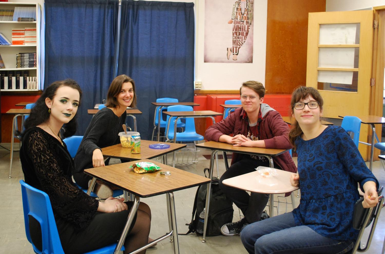Film Club founding members Corrina Asher (Junior/left) Sarah Sizemore (Junior/right), Declan Garrison (Senior/back right) and Advisor Ms. Walsh