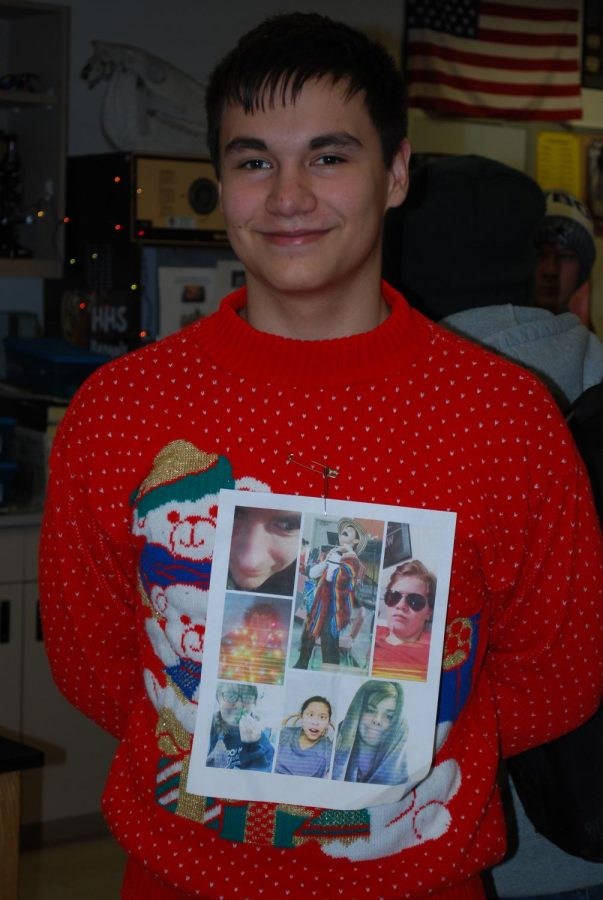 Bryce Rives shows love for his friends with this ugly sweater.