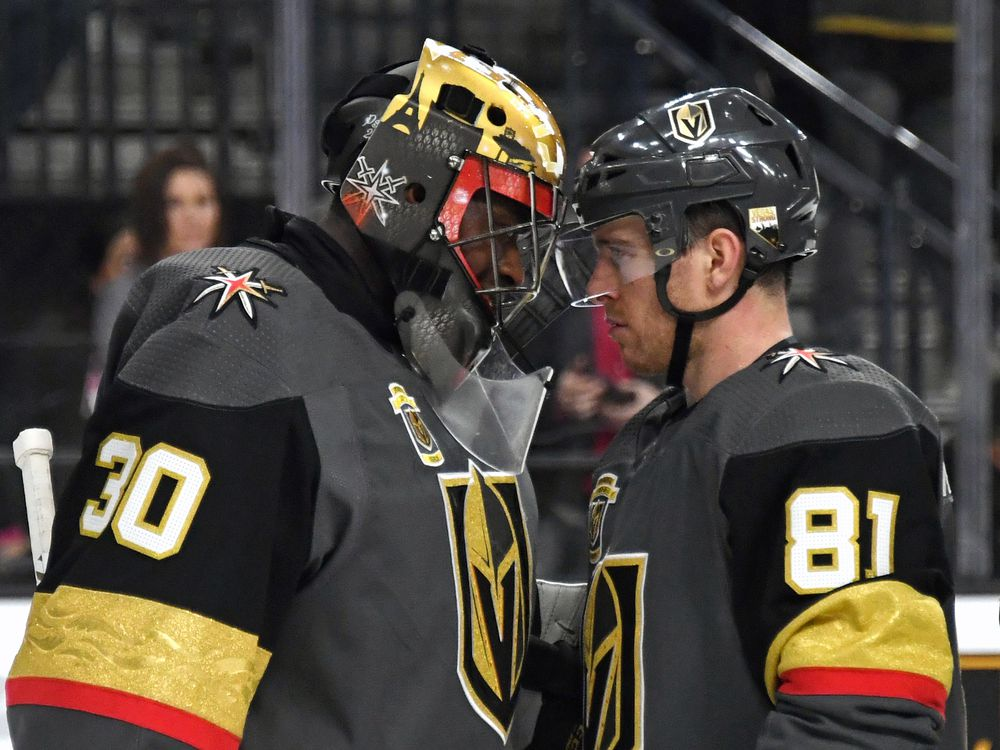 LAS VEGAS, NV - MARCH 20:  Malcolm Subban #30 and Jonathan Marchessault #81 of the Vegas Golden Knights celebrate on the ice after the team's 4-1 victory over the Vancouver Canucks at T-Mobile Arena on March 20, 2018 in Las Vegas, Nevada.  (Photo by Ethan Miller/Getty Images)